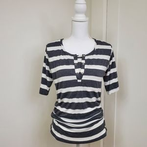 Moms the Word Oh Snap! Striped nursing top